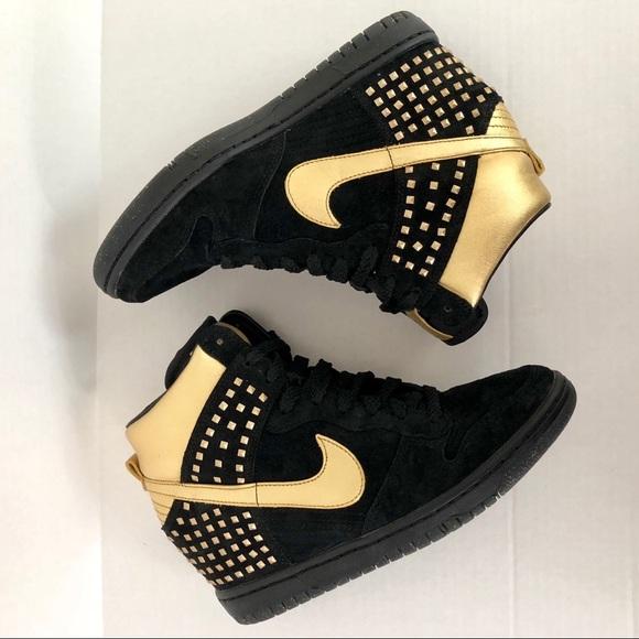 Nike Dunk Sky Hi Wedge in Gold Studded Black Suede.  M 5ac570608af1c5e8370cb54d e68dcb2f1585